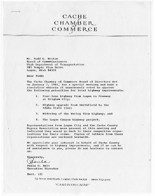 Cache Chamber of Commerce letter, 1987