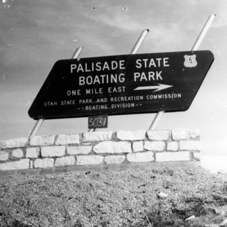 Palisade State Boating Park road sign in Sanpete County
