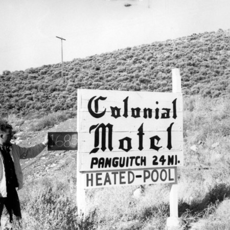 Colonial Motel road sign in Piute County