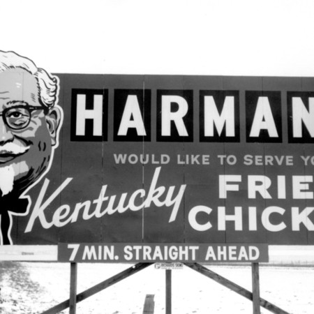 Harman's Kentucky Fried Chicken road sign in Weber County