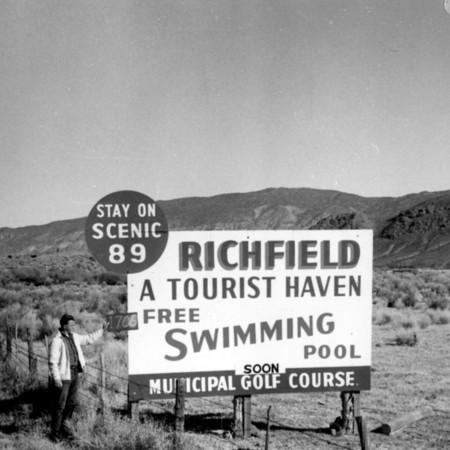 Richfield Tourist Haven road sign in Piute County