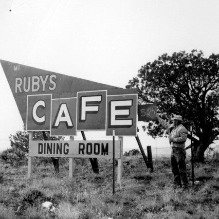 Ruby's Cafe road sign in Kane County