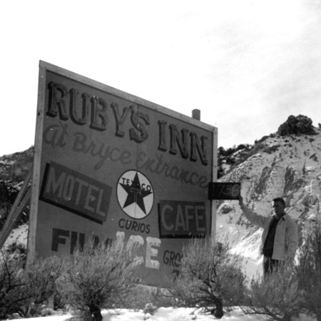 Ruby's Inn road sign in Piute County