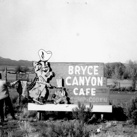 Bryce Canyon Cafe road sign in Garfield County