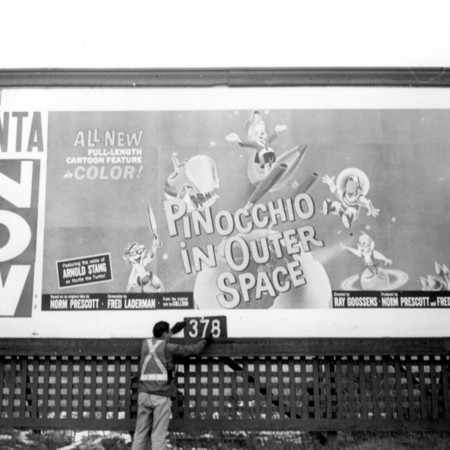 Pinocchio In Outer Space road sign in Utah County