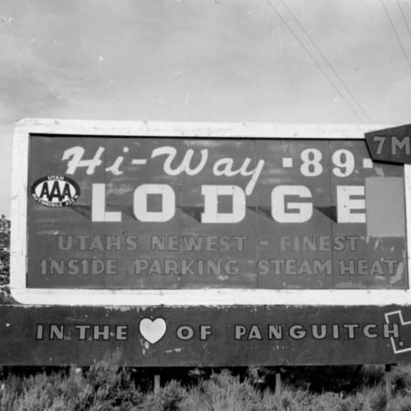 Hi-Way 89 Lodge road sign in Garfield County