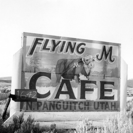 Flying M Cafe road sign in Garfield County