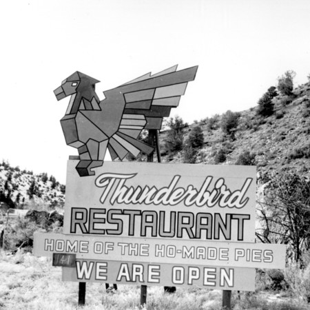 Thunderbird Restaurant road sign in Kane County