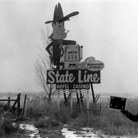 State Line Hotel road sign in Davis County