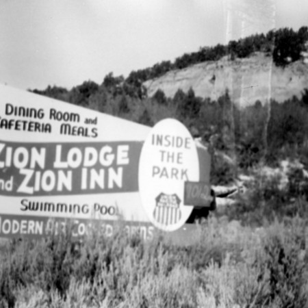 Zion Lodge road sign in Kane County