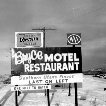 Bryce Motel Restaurant road sign in Garfield County