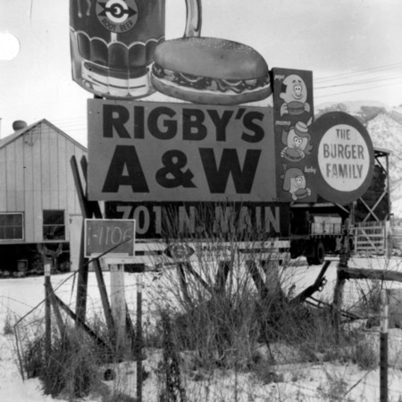 Rigby's A&W road sign in Cache County