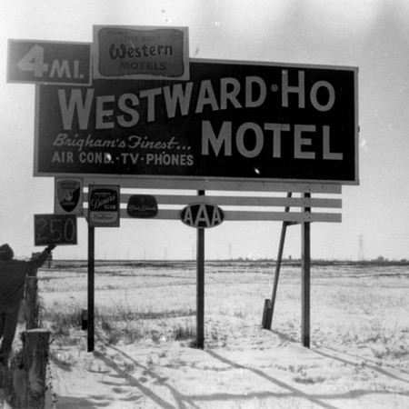 Westward-Ho Motel road sign in Box Elder County.