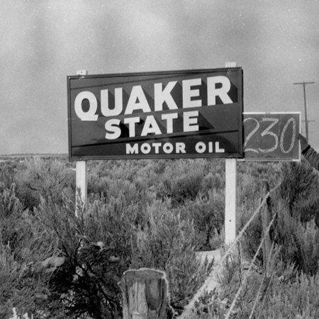 Quaker State Motor Oil road sign in Box Elder County.
