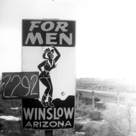Winslow, Arizona road sign in Sevier County