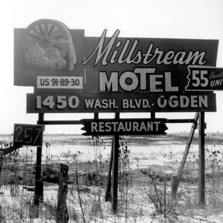 Millstream Motel road sign in Box Elder County