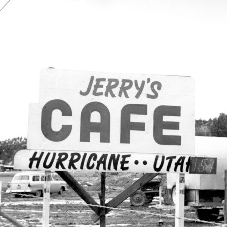 Jerry's Cafe road sign in Kane County