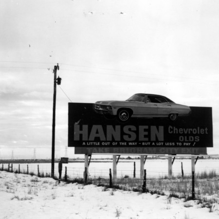 Hansen Chevrolet road sign in Box Elder County