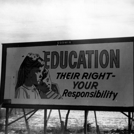 Education road sign in Piute County