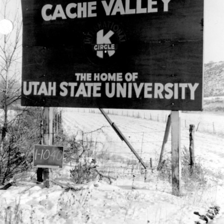 Utah State University road sign in Cache County