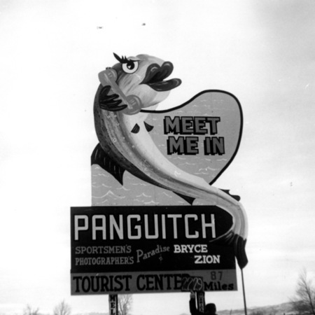 Meet Me In Panguitch road sign in Sevier County