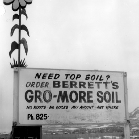 Berrett's Gro-More-Soil road sign in Weber County