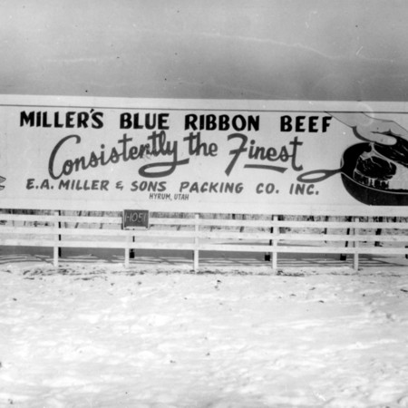 Miller's Blue Ribbon Beef road sign in Cache County