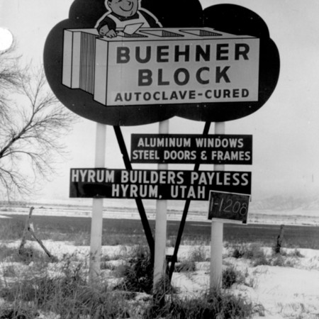 Buehner Block road sign in Cache County