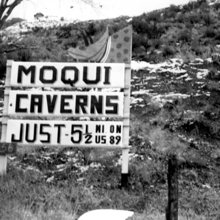 Moqui Caverns road sign in Kane County