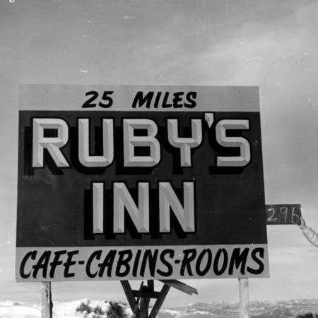 Ruby's Inn road sign in Garfield County