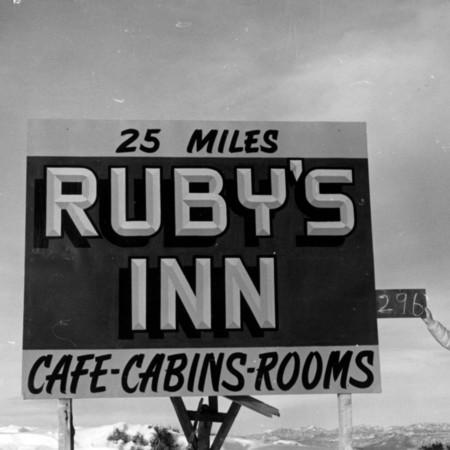 Ruby's Inn road sign in Garfield County
