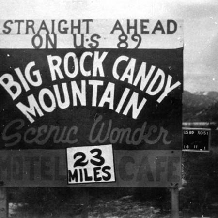 Big Rock Candy Mountain road sign in Piute County