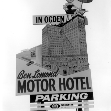 Ben Lomond Motor Hotel road sign in Weber County