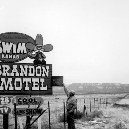 Brandon Motel road sign in Kane County