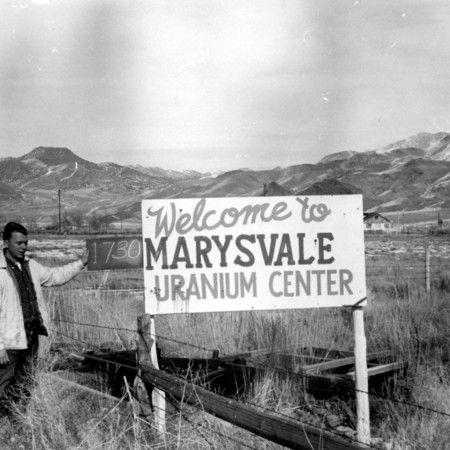 Marysvale Uranium Center road sign in Piute County