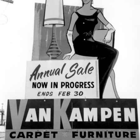 Van Kampen Furniture road sign in Weber County