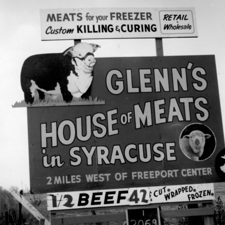 Glenns House of Meats road sign in Davis County
