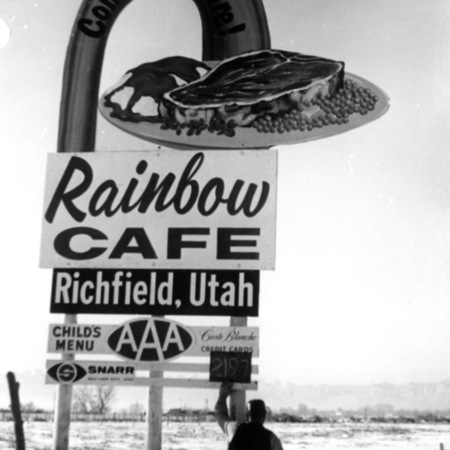 Rainbow Cafe road sign in Sevier County