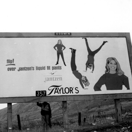 Jantzen's Liquid Fit Pants road sign in Utah County