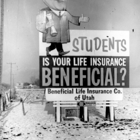 Student Life Insurance road sign in Cache County
