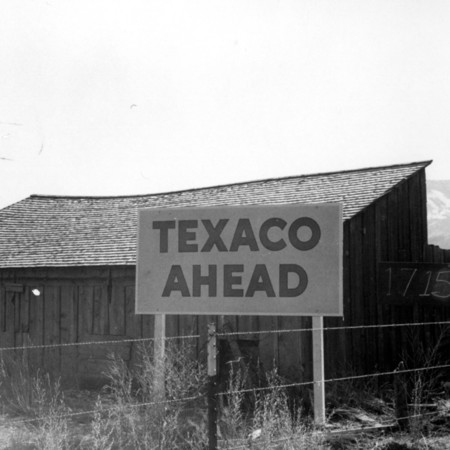 Texaco Ahead road sign in Piute County
