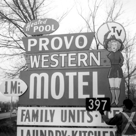 Provo Western Motel road sign in Utah County