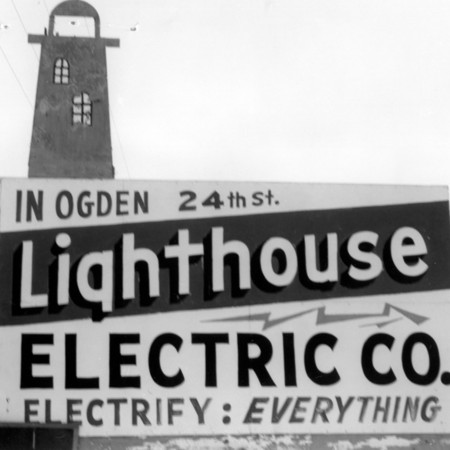 Lighthouse Electric road sign in Weber County