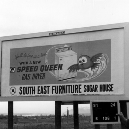 South East Furniture road sign in Davis County