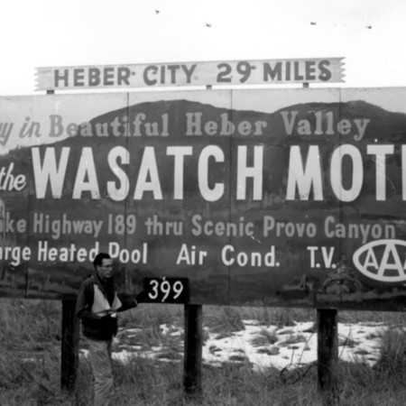 Wasatch Motel road sign in Utah County