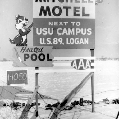 Mitchell Motel road sign in Cache County