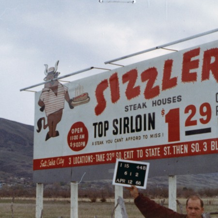 Sizzler Steak House road sign in Davis County