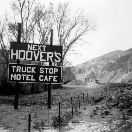 Hoovers Truck Stop road sign in Piute County
