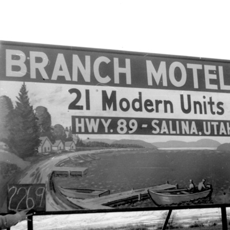Branch Motel road sign in Sevier County