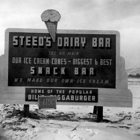 Steeds Dairy Bar road sign in Cache County.